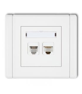 FLEXI Gniazdo telefoniczne pojedyncze 1xRJ11 + komputerowe pojedyncze 1xRJ45, kat. 5e, 8-stykowe, beznarzędziowe Karlik FGTK