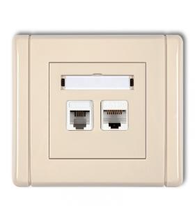 FLEXI Gniazdo telefoniczne pojedyncze 1xRJ11 + komputerowe pojedyncze 1xRJ45, kat. 5e, 8-stykowe, beznarzędziowe Karlik 1FGTK