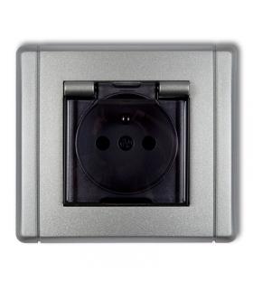 FLEXI Gniazdo bryzgoszczelne z uziemieniem 2P+Z (klapka dymna, przesłony torów prądowych) Karlik 7FGPB-1zdp