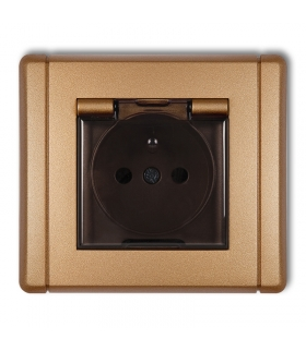 FLEXI Gniazdo bryzgoszczelne z uziemieniem 2P+Z (klapka dymna, przesłony torów prądowych) Karlik 8FGPB-1zdp