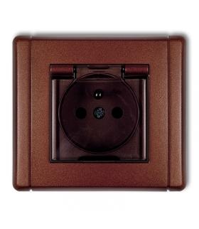 FLEXI Gniazdo bryzgoszczelne z uziemieniem 2P+Z (klapka dymna, przesłony torów prądowych) Karlik 9FGPB-1zdp