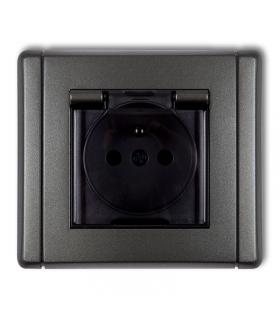 FLEXI Gniazdo bryzgoszczelne z uziemieniem 2P+Z (klapka dymna, przesłony torów prądowych) Karlik 11FGPB-1zdp