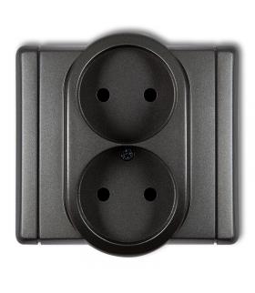 FLEXI Gniazdo podwójne bez uziemienia 2x2P (przesłony torów prądowych) Karlik 11FGP-2p