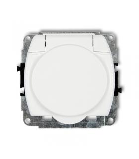 TREND Mechanizm gniazda bryzgoszczelnego z uziemieniem SCHUKO 2P+Z (klapka biała, przesłony torów prądowych) Karlik GPB-1sp