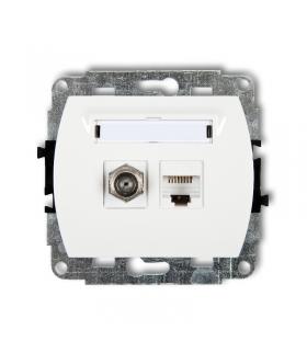 TREND Mechanizm gniazda antenowego poj. typu F (SAT) + gniazda komp. poj. 1xRJ45, kat. 5e, 8-stykowy Karlik GFK