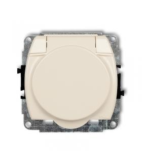 TREND Mechanizm gniazda bryzgoszczelnego z uziemieniem SCHUKO 2P+Z (klapka beżowa, przesłony torów prądowych) Karlik 1GPB-1sp