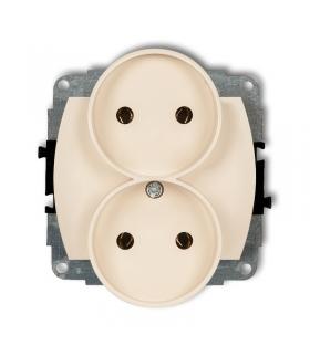 TREND Mechanizm gniazda podwójnego do ramki poziomej bez uziemienia 2x2P (przesłony torów prądowych) Karlik 1GPR-2p
