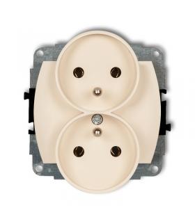 TREND Mechanizm gniazda podwójnego do ramki poziomej z uziemieniem 2x(2P+Z) (przesłony torów prądowych) Karlik 1GPR-2zp