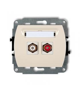 TREND Mechanizm gniazda podwójnego RCA (typu cinch - biały i czerwony, pozłacany) Karlik 1GRCA-2