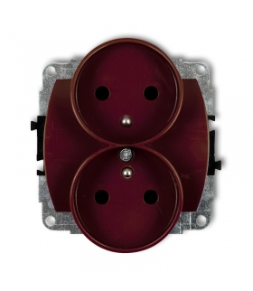TREND Mechanizm gniazda podwójnego do ramki poziomej z uziemieniem 2x(2P+Z) (przesłony torów prądowych) Karlik 4GPR-2zp