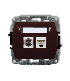 TREND Mechanizm gniazda antenowego poj. typu F (SAT) + gniazda komp. poj. 1xRJ45, kat. 5e, 8-stykowy Karlik 4GFK