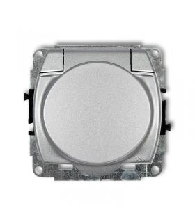 TREND Mechanizm gniazda bryzgoszczelnego z uziemieniem SCHUKO 2P+Z (klapka srebrny metalik, przesłony torów prądowych) Karlik 7G