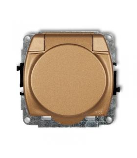 TREND Mechanizm gniazda bryzgoszczelnego z uziemieniem 2P+Z (klapka złoty metalik, przesłony torów prądowych) Karlik 8GPB-1zp