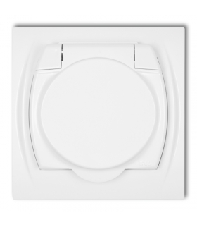 LOGO Gniazdo bryzgoszczelne z uziemieniem2P+Z (klapka biała, przesłony torów prądowych) Karlik LGPB-1zp
