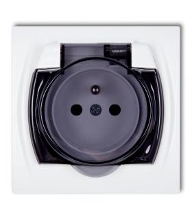 LOGO Gniazdo bryzgoszczelne z uziemieniem 2P+Z (klapka dymna, przesłony torów prądowych) Karlik LGPB-1zdp