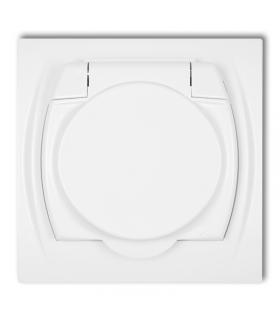 LOGO Gniazdo bryzgoszczelne z uziemieniem SCHUKO 2P+Z (klapka biała, przesłony torów prądowych) Karlik LGPB-1sp