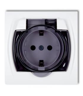 LOGO Gniazdo bryzgoszczelne z uziemieniem SCHUKO 2P+Z (klapka dymna, przesłony torów prądowych) Karlik LGPB-1sdp