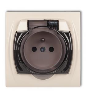 LOGO Gniazdo bryzgoszczelne z uziemieniem 2P+Z (klapka dymna, przesłony torów prądowych) Karlik 1LGPB-1zdp