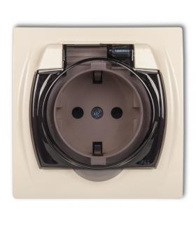 LOGO Gniazdo bryzgoszczelne z uziemieniem SCHUKO 2P+Z(klapka dymna, przesłony torów prądowych) Karlik 1LGPB-1sdp