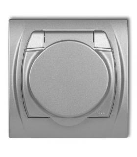 LOGO Gniazdo bryzgoszczelne z uziemieniem 2P+Z (klapka srebrny metalik, przesłony torów prądowych) Karlik 7LGPB-1zp