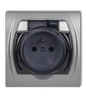 LOGO Gniazdo bryzgoszczelne z uziemieniem 2P+Z (klapka dymna, przesłony torów prądowych) Karlik 7LGPB-1zdp