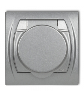 LOGO Gniazdo bryzgoszczelne z uziemieniem SCHUKO 2P+Z (klapka srebrny metalik, przesłony torów prądowych) Karlik 7LGPB-1sp