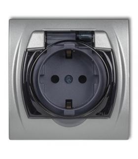 LOGO Gniazdo bryzgoszczelne z uziemieniem SCHUKO 2P+Z (klapka dymna, przesłony torów prądowych) Karlik 7LGPB-1sdp