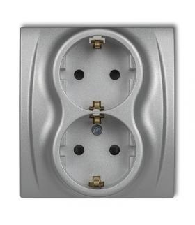 LOGO Gniazdo podwójne z uziemieniem SCHUKO 2x(2P+Z) (przesłony torów prądowych) Karlik 7LGP-2sp