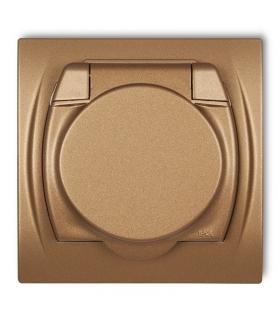 LOGO Gniazdo bryzgoszczelne z uziemieniem SCHUKO 2P+Z (klapka złoty metalik, przesłony torów prądowych) Karlik 8LGPB-1sp