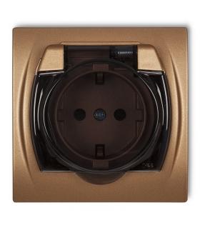 LOGO Gniazdo bryzgoszczelne z uziemieniem SCHUKO 2P+Z (klapka dymna, przesłony torów prądowych) Karlik 8LGPB-1sdp