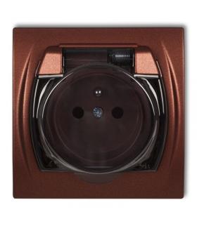 LOGO Gniazdo bryzgoszczelne z uziemieniem 2P+Z (klapka dymna, przesłony torów prądowych) Karlik 9LGPB-1zdp