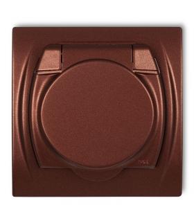 LOGO Gniazdo bryzgoszczelne z uziemieniem SCHUKO 2P+Z (klapka brązowy metalik, przesłony torów prądowych) Karlik 9LGPB-1sp
