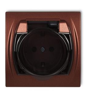 LOGO Gniazdo bryzgoszczelne z uziemieniem SCHUKO 2P+Z (klapka dymna, przesłony torów prądowych) Karlik 9LGPB-1sdp
