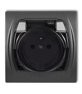 LOGO Gniazdo bryzgoszczelne z uziemieniem 2P+Z (klapka dymna, przesłony torów prądowych) Karlik 11LGPB-1zdp