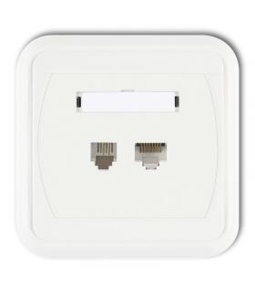 LIZA Gniazdo telefoniczne pojedyncze 1xRJ11, 4-stykowe + gniazdo komputerowe pojedyncze 1xRJ45, kat. 5e, 8-stykowe Karlik GLTK