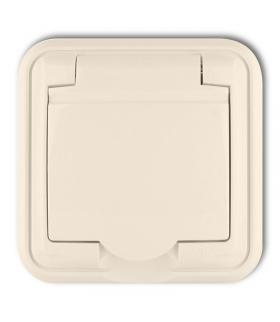 LIZA Gniazdo bryzgoszczelne 2P+Z (klapka beżowa) Karlik 1GPH-1z