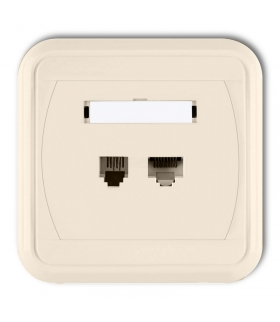 LIZA Gniazdo telefoniczne pojedyncze 1xRJ11, 4-stykowe + gniazdo komputerowe pojedyncze 1xRJ45, kat. 5e, 8-stykowe Karlik 1GLTK