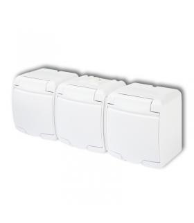 JUNIOR Gniazdo potrójne 3x(2P+Z) (klapka biała) Karlik GHE-3p