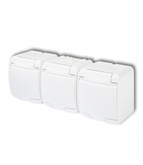JUNIOR Gniazdo potrójne 3x(2P+Z) SCHUKO (klapka biała) Karlik GHE-3s