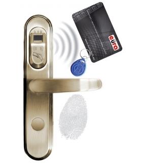 SZYLD ZAMKA ELEKTROMECHANICZNEGO ELH-50B9 brass - z czytnikiem kart zbliżeniowych (RFID) i czytnikiem linii papilarnych, mosiądz