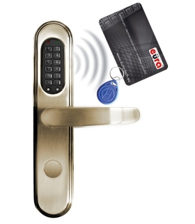SZYLD ZAMKA ELEKTROMECHANICZNEGO ELH-40B9 brass - z czytnikiem kart zbliżeniowych (RFID) i zamkiem szyfrowym, mosiądz