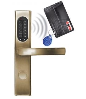 SZYLD ZAMKA ELEKTROMECHANICZNEGO ELH-30B9 brass - z czytnikiem kart zbliżeniowych (RFID) i zamkiem szyfrowym, mosiądz