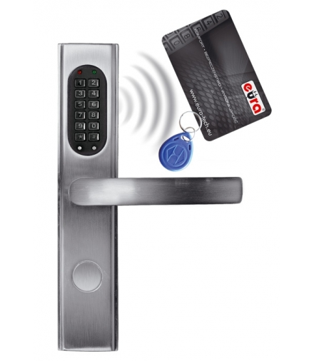 SZYLD ZAMKA ELEKTROMECHANICZNEGO ELH-30B9 silver - z czytnikiem kart zbliżeniowych (RFID) i zamkiem szyfrowym, srebrny