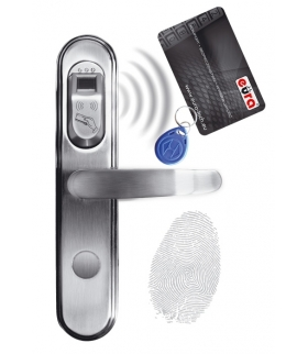 SZYLD ZAMKA ELEKTROMECHANICZNEGO ELH-50B9 z czytnikiem kart zbliżeniowych (RFID) i czytnikiem linii papilarnych, srebrny