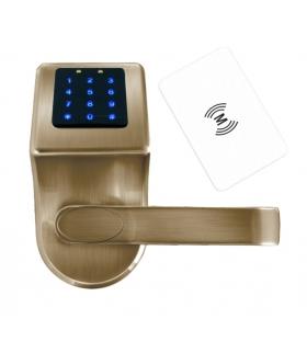 SZYLD Z KONTROLĄ DOSTĘPU EURA ELH-80B9 BRASS z klawiaturą dotykową, sterowaniem SMS, czytnikiem Mifare, modułem Bluetooth i uniw