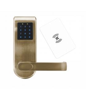 SZYLD Z KONTROLĄ DOSTĘPU ''EURA'' ELH-82B9 BRASS z klawiaturą dotykową, sterowaniem SMS, czytnikiem Mifare, modułem Bluetooth