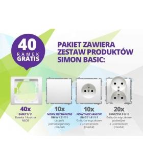 Simon Basic Neos Gniazda + Łączniki + RAMKI GRATIS