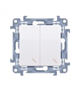 Łącznik schodowy podwójny z podświetleniem LED biały 10AX CW6/2L.01/11