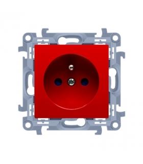 Gniazdo wtyczkowe pojedyncze z uziemieniem z przesłonami torów prądowych czerwony 16A CGZ1Z.01/22