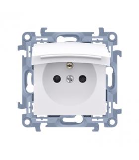 Gniazdo wtyczkowe pojedyncze do wersji IP44 z przesłonami torów prądowych - z uszczelką - klapka w kolorze pokrywy biały 16A CGZ